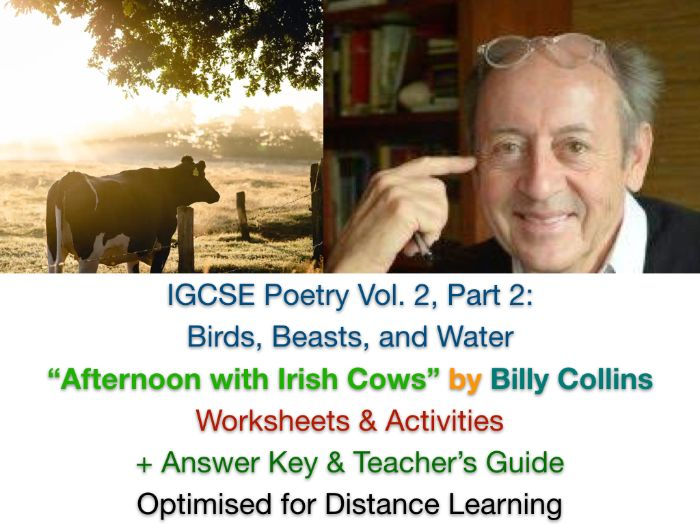 """IGCSE Poetry: """"Afternoon with Irish Cows"""" by Billy Collins (Complete Teaching Unit + EXAM PREP)"""