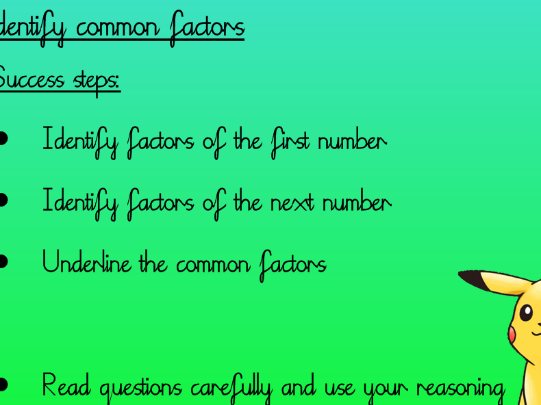 Common Factors and Highest Common Factors - Year 6 with 3 levels of differentiation