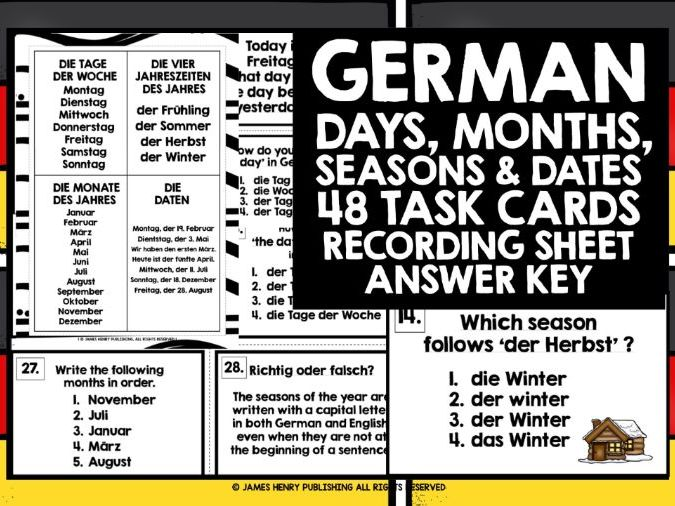 GERMAN DAYS MONTHS SEASONS DATES CHALLENGE CARDS