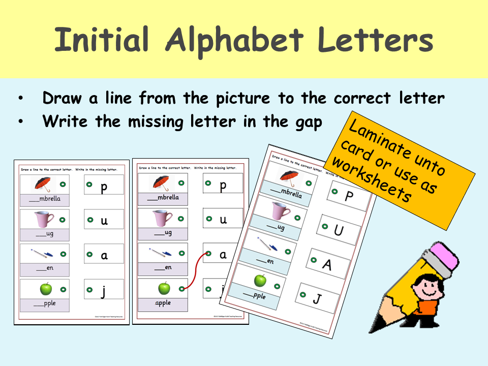 Alphabet: Match and Write Upper and Lower case letters to Pictures