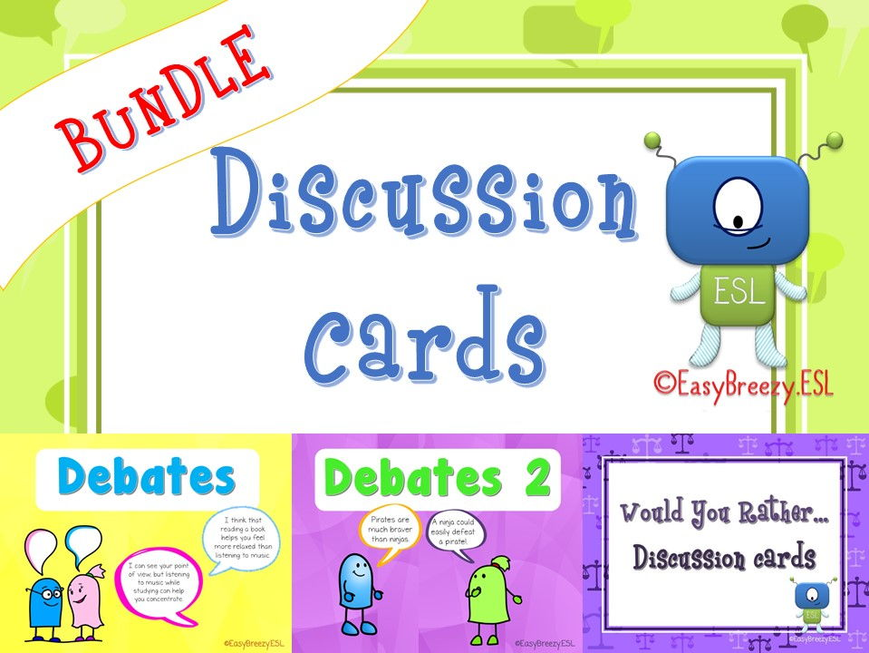 Discussion Cards Bundle: Debates, Debates 2 & Would You Rather...(a Total of 180 Cards!)