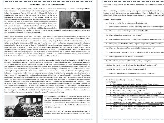 Martin Luther King Jr.  Biography - Reading Comprehension and Vocabulary worksheet