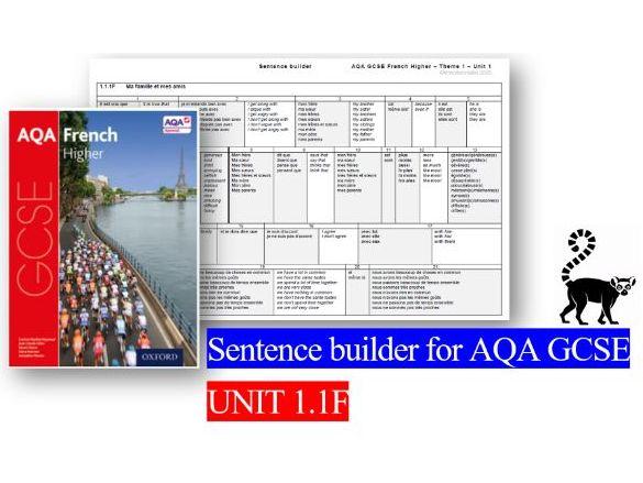 Sentence builder - AQA GCSE UNIT 1.1F