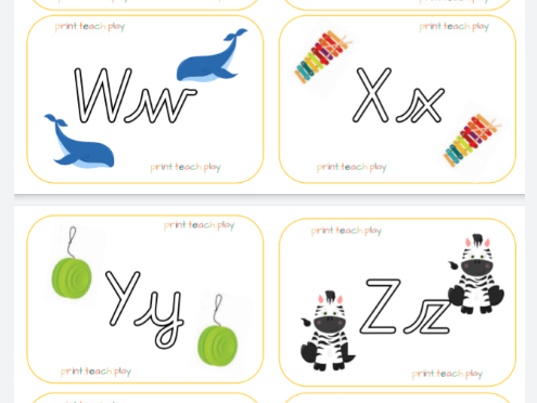 Alphabet Flash Cards - Unjoined Cursive Outline