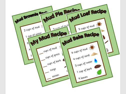 Big set of mud kitchen recipe cards and 'make your own' recipe to promote counting in the EYFS maths