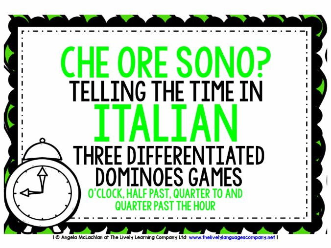 ITALIAN TELLING THE TIME - 3 DIFFERENTIATED DOMINOES GAMES (1)