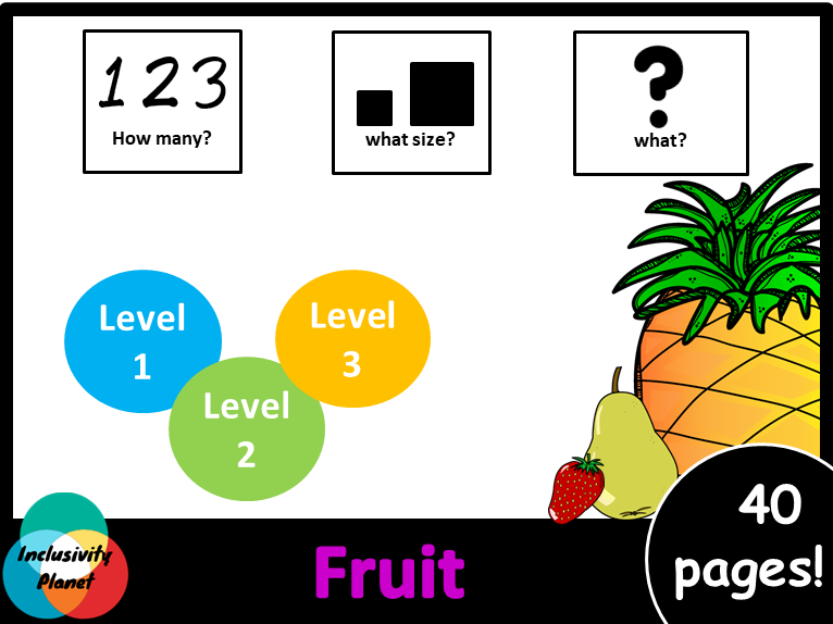 Fruit HOW MANY, WHAT SIZE, WHAT? Adapted book Level 1, Level 2 and Level 3