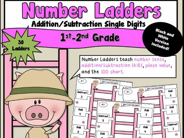 Number Ladders using Single Digit Addition and Subtraction