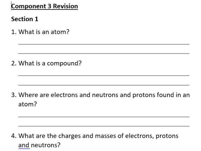 New Specification Science ELC Component 3 Revision