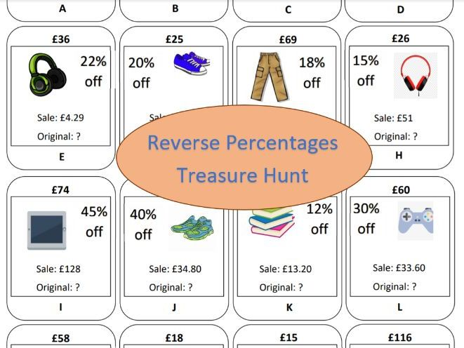 Reverse Percentages Treasure Hunt