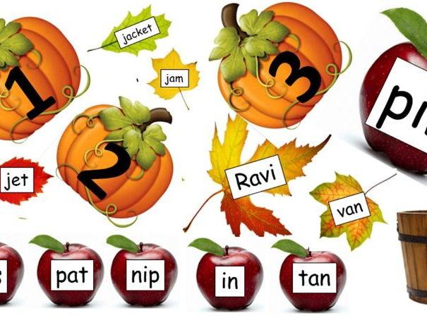 Harvest Pumpkin Numbers 0-10, Harvest Apples: Phase 2 Phonics, Autumn Leaves: Phase 3 Phonics.
