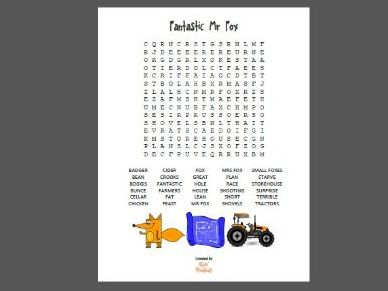 Wordsearch puzzle for Fantastic Mr Fox - Roald Dahl (30 words)