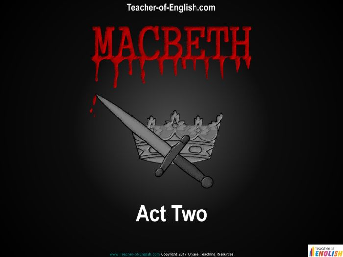 Macbeth – Act Two (27 slide PowerPoint and 6 worksheets)