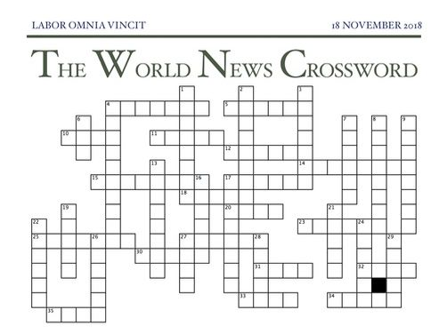 The World News Crossword - November 18th, 2018