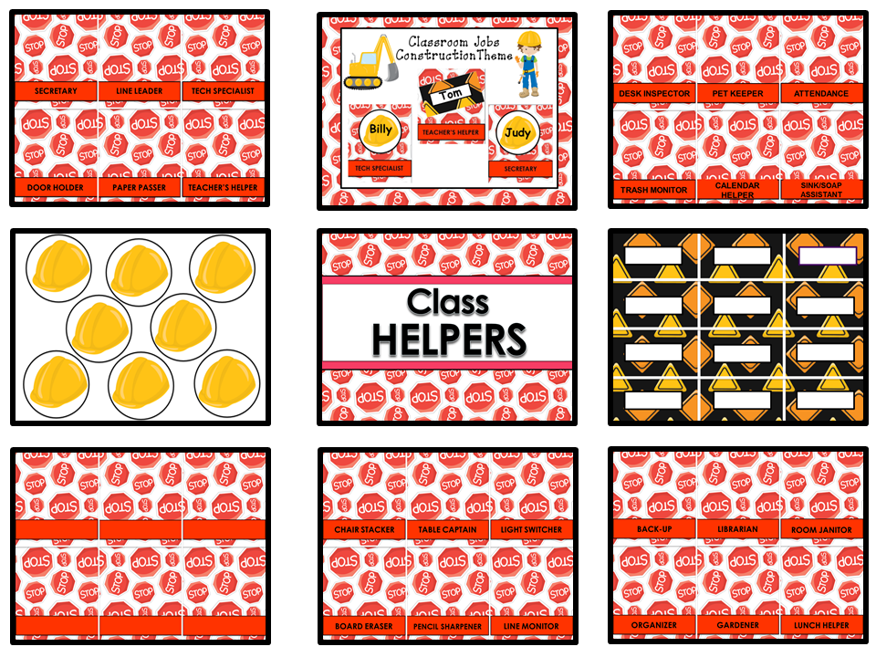 Classroom Helpers Editable - Construction Theme