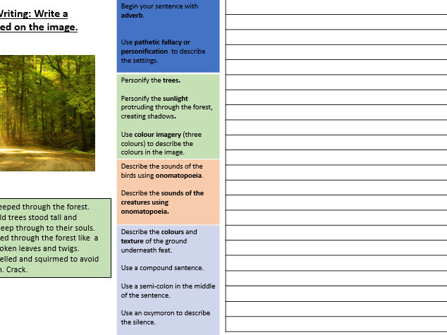 Creative/ Descriptive Writing Placemat: Image Prompt: Structure Strips