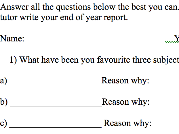 Student reflection sheet to help Tutors write end of term reports
