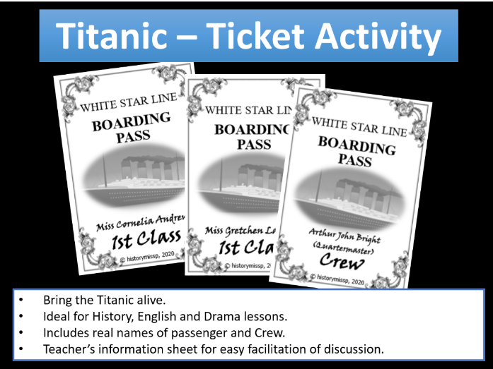 Titanic Ticket hook activity - using real names of passengers and crew