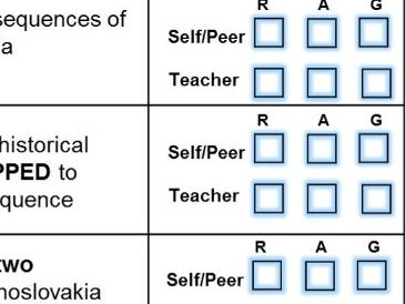 Peer/self/teacher assessment grid