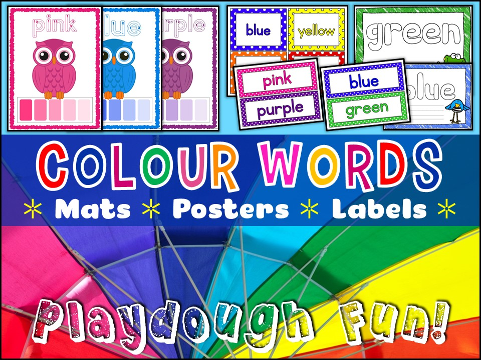 Vocabulary: Colour Words Posters Labels Playdough Mats