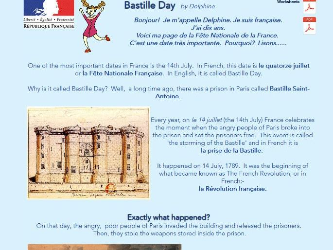 Bastille Day - worksheets and web page
