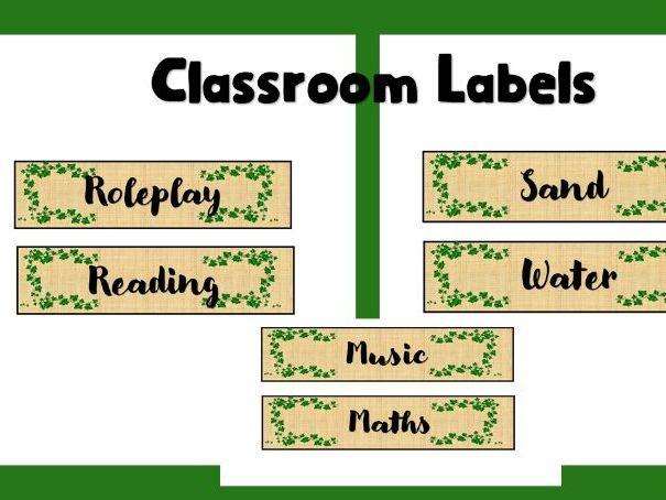 Natural Hessian Classroom Labels  Editable
