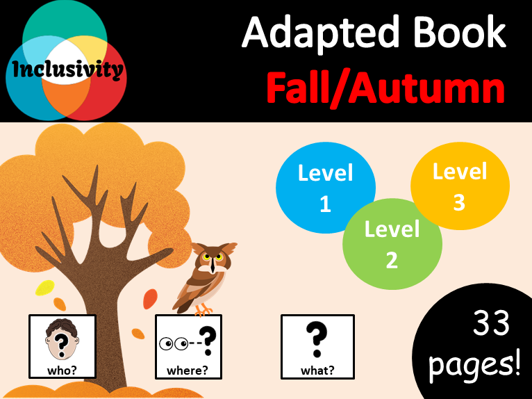 Autumn/Fall WHO, WHERE, WHAT? Adapted book preposition Level 1, Level 2 and Level 3