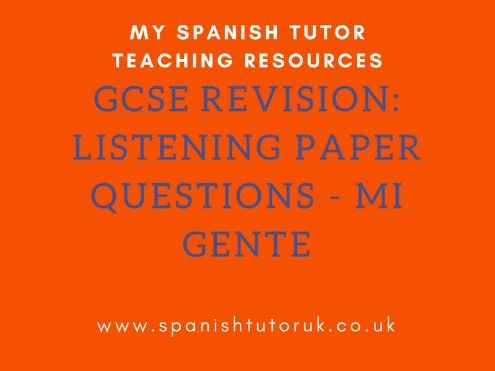 GCSE Past Paper Listening Questions Foundation - Mi Gente