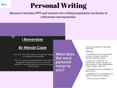 Personal Writing: Reflections and Memories