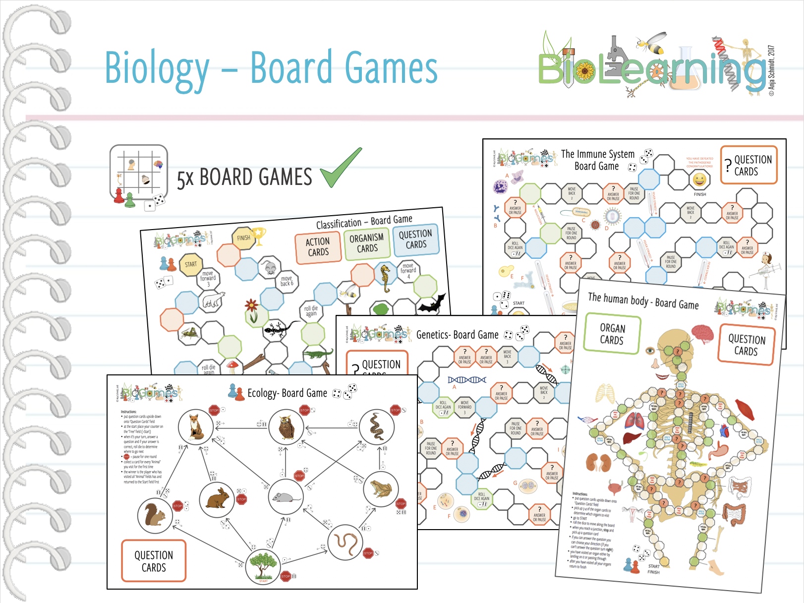 5x fun Biology Board Games - Bundle 1 (KS3/KS4)