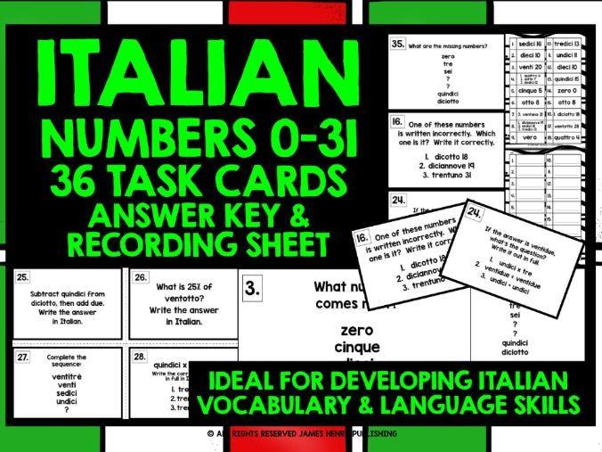 ITALIAN NUMBERS 0-31 TASK CARDS