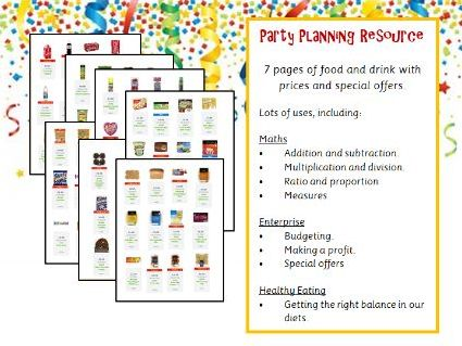 Party Planning Resource - Products and Prices