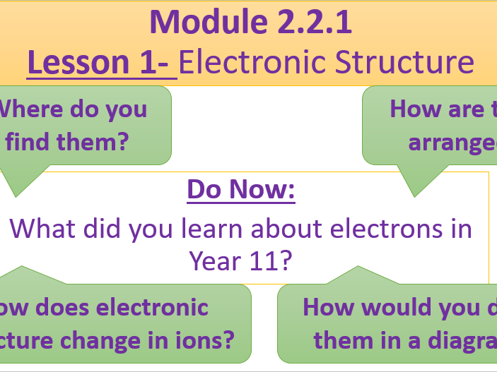 A Level Chemistry OCR A- Module 2.2.1 Lesson 1- Electronic Configuration