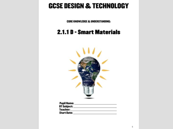 WJEC GCSE KS4 Core 211D: Smart Materials Pupil Workbook & Smart Colours Pres New Design & Technology