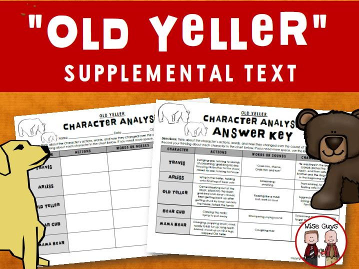 Old Yeller Character Analysis Activity