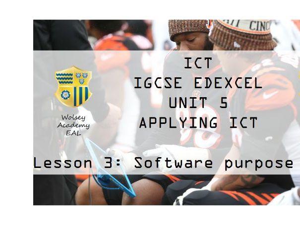 3.ICT>IGCSE>Edexcel>Unit 5>Applying ICT>Software Purpose Part A