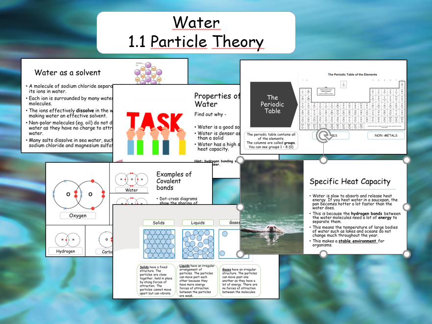 Marine Science :  Particle Theory and Bonding (Water)
