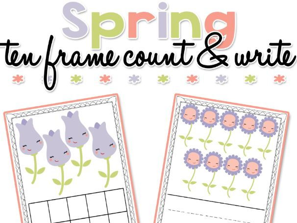 Spring themed Ten Frame Count and Write Boards