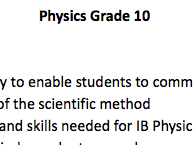 Version 2 Grade 10 Physics Curriculum
