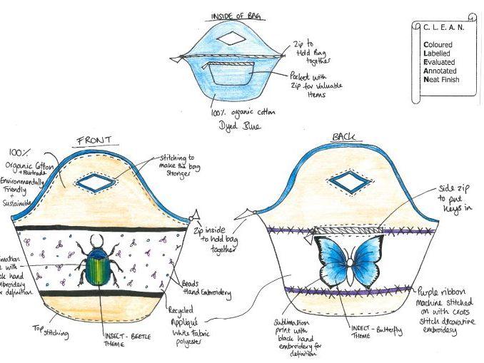 Insect Theme AQA GCSE Textiles Design Question 2018 Resources