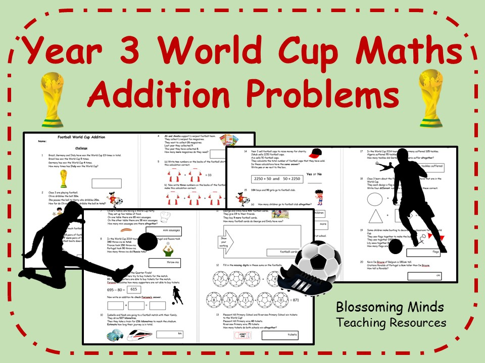 Year 3 World Cup 2018 Maths - Addition - Differentiated Levels