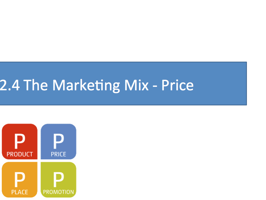 OCR 9-1 Business Introduction to the Marketing Mix (The 4 Ps) 1st lesson - Price