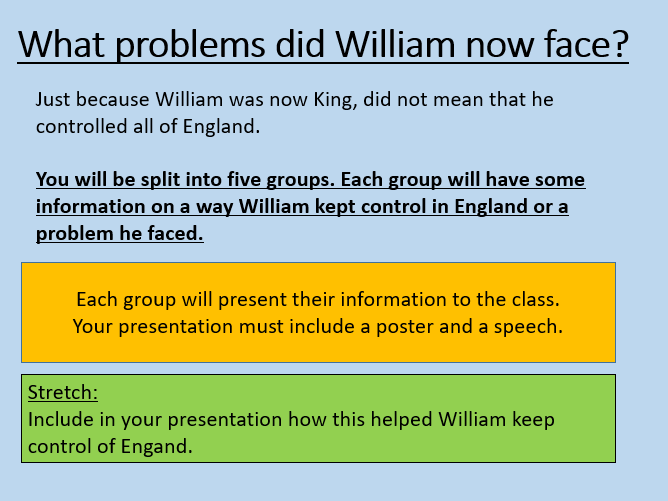 Battle of Hastings - Controlling England - Ks3