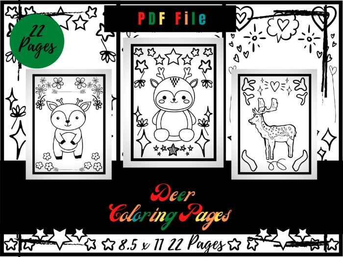 Deer Colouring Pages For Kids, Colouring Sheets PDF, Deer Hunting Printable Pages