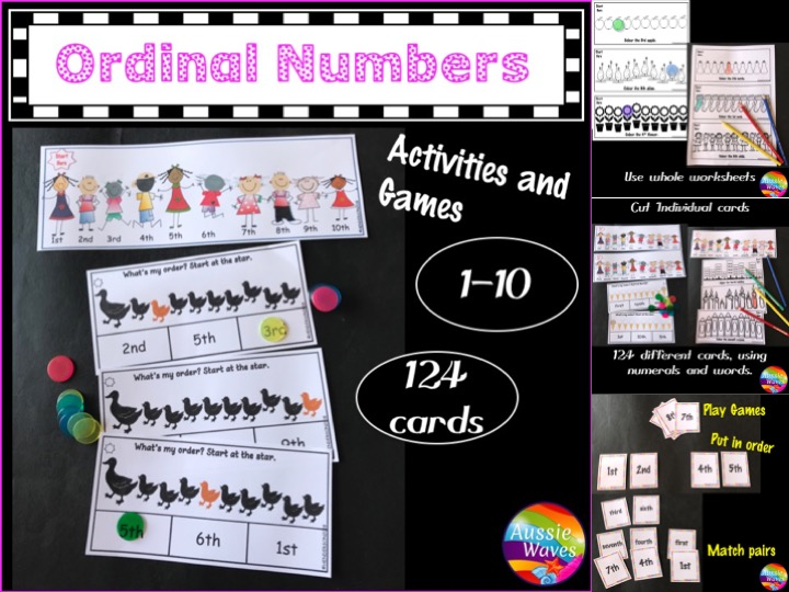Ordinal Numbers Activities 0-10 Printable Kindergarten Math Centres
