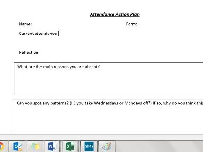 6 week student attendance action plan - reflection / pastoral care / raising attendance / PSHE