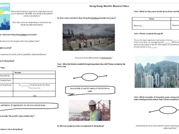 Hong Kong World's Busiest Cities - Worksheet to support the BBC Documentary