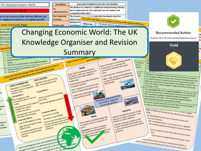 GCSE AQA 9-1 : UK Economic World, Knowledge Organisers and Revision Summaries.