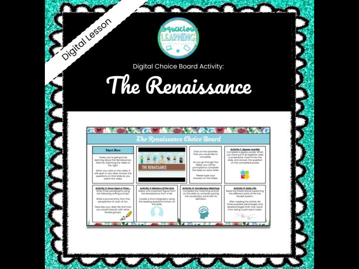 The Renaissance Choice Board - *Easy Prep*