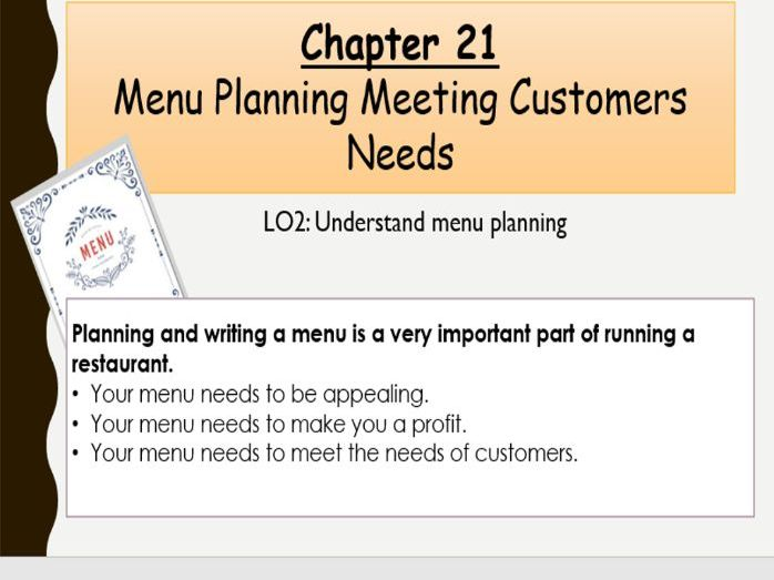 WJEC Hospitality and Catering Unit 2 Chapter 21 Menu Planning Meeting Customers Needs